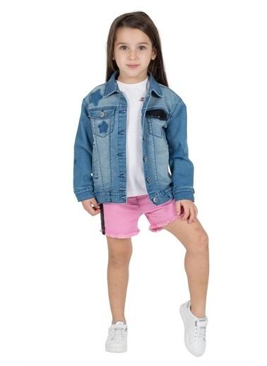 Silversun Kids Kız Çocuk Koyu Denim Cepleri Payet Detaylı Kot Ceket Mc 215328 Mavi